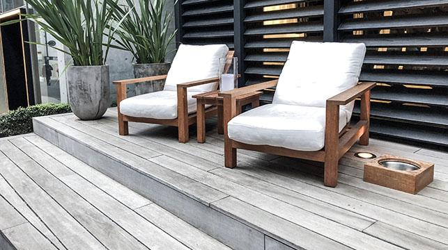 grey wooden deck