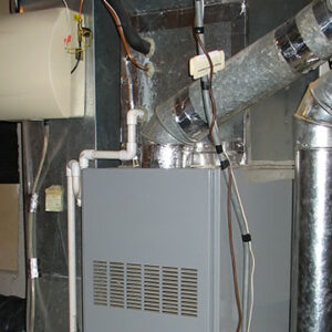 modern furnace in the basement