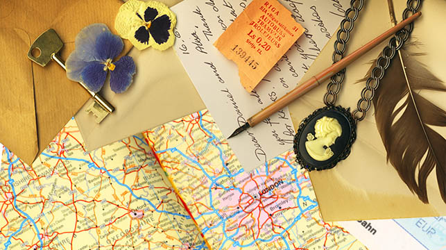 travel memories on a table