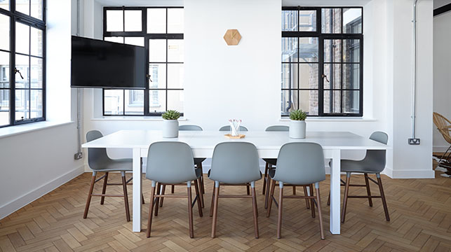 white office meeting table